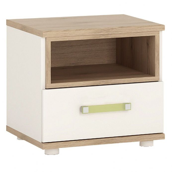 4KIDS 1 drawer bedside cabinet in light oak and white high gloss